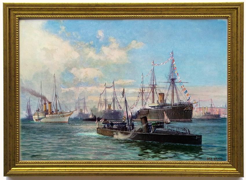 Gneisenau und Moltke 1896 edel gerahmt Segelschulschiffe Stoch
